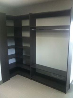 Wood Closet Organizers with Shelves and Hangs, Chocolate Color