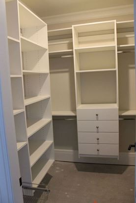 Wood Closet Organizers with Drawers & Shelves, White Color