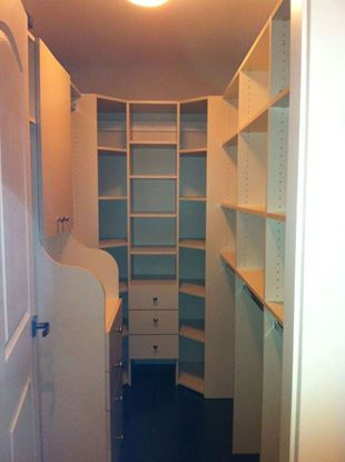 Wood Closet Organizers with Shelves & Drawers