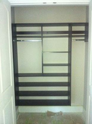 Wood Closet Organizers with Shelves and Hangs