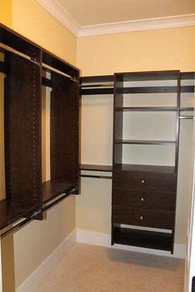Wood Closet Organizer Chocolate Color with Hangs & Drawers